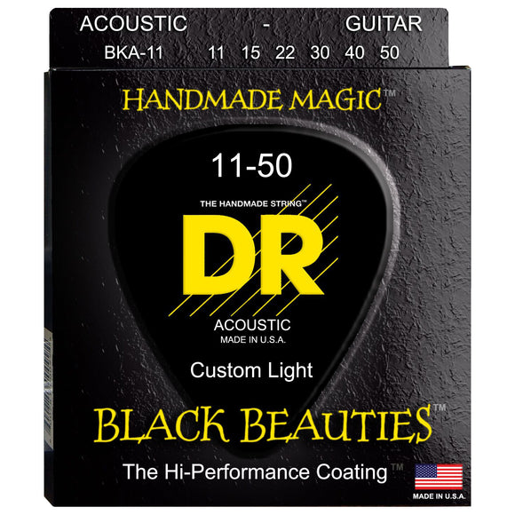 DR BKA-11 Black K3 Coated Acoustic Strings