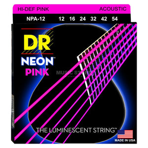 DR NPA-12 Neon™ Pink acoustic strings with K3™ Technology 12-54