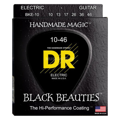 DR Strings BKE-10 Black K3 Coated Electric Strings - Medium, 10-46