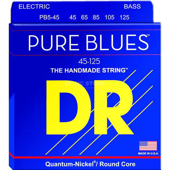 DR Pure Blues Bass Strings Medium (45-125) w/ Quantum Nickel Alloy PB5-45