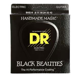 DR BKE-9 Black K3 Coated Electric Strings - Lite, 9-42