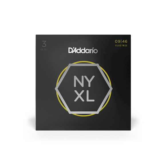 D'Addario NYXL Electric Guitar Strings Super Light Top / Regular Bottom 9-46, 3-Pack