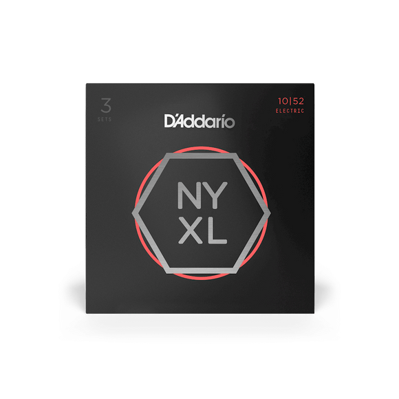 D'Addario NYXL Electric Guitar Strings Light Top / Heavy Bottom 10-52, 3-Pack
