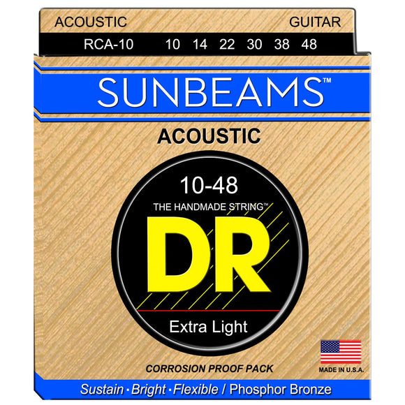 DR RCA-10 Sunbeam Phosphor Bronze Acoustic Strings Extra Lite 10-48