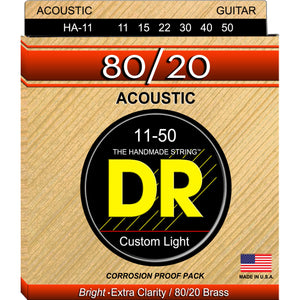 DR HA-11 Hi-Beam 80/20 Acoustic Strings 11-50 Custom Light