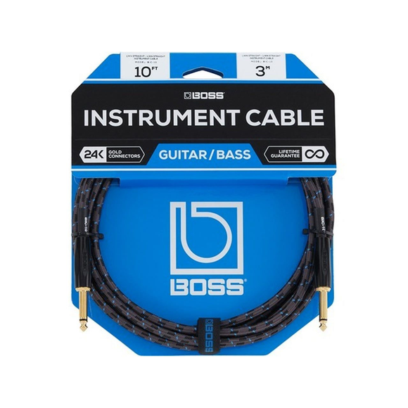 BOSS 10ft / 3m Instrument Cable, Straight/Straight 1/4