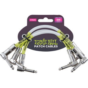 "Ernie Ball 6"" Angle/Angle Patch Cable 3-Pack - White"