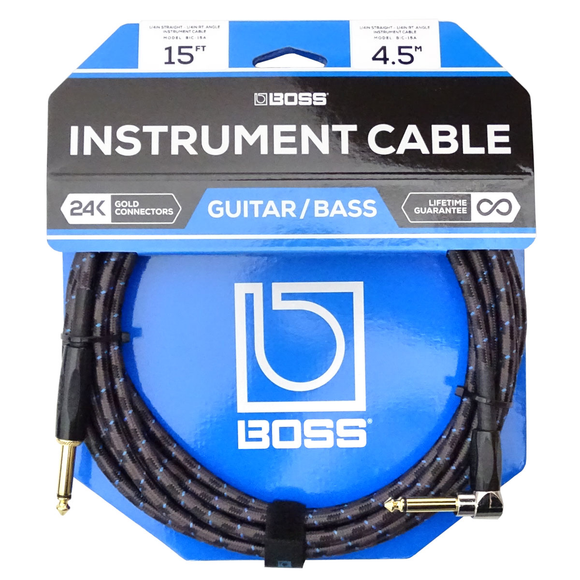 BOSS 15ft / 4.5m Instrument Cable, Straight/Right-Angle 1/4