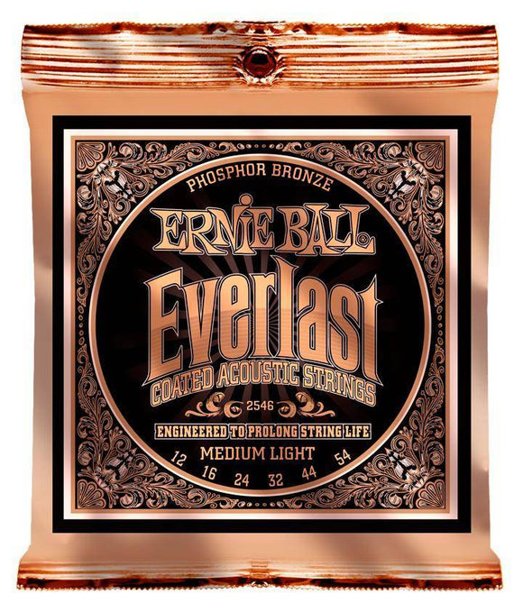 Ernie Ball Everlast Coated Phosphor Guitar Strings - Medium Light 12-54