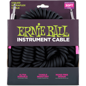 Ernie Ball 30' Coiled Straight/Straight Instrument Cable - Black