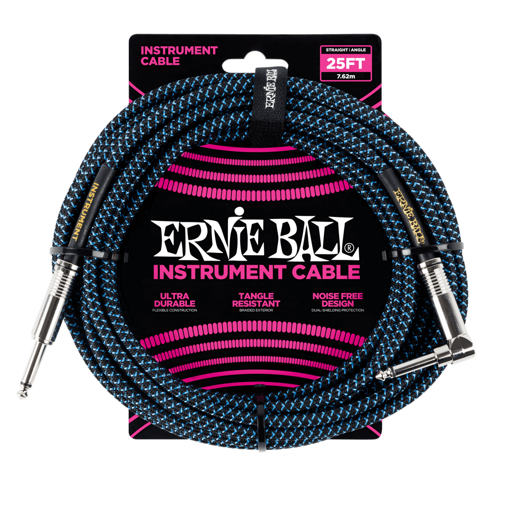 Ernie Ball 25' Braided Instrument Cable Straight/Angle Black & Blue