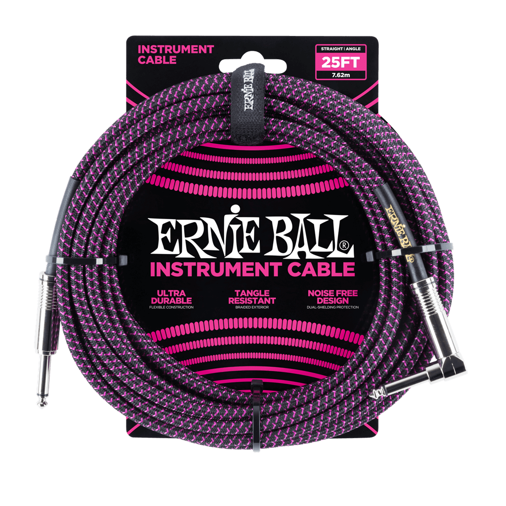 Ernie Ball 25' Braided Instrument Cable Straight/Angle Black & Purple