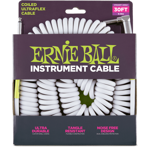 Ernie Ball 30' Coiled Straight/Angle Instrument Cable - White