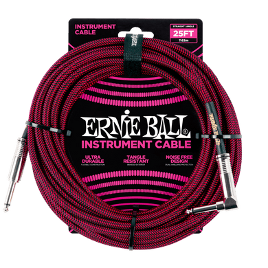 Ernie Ball 25' Braided Instrument Cable Straight/Angle Red