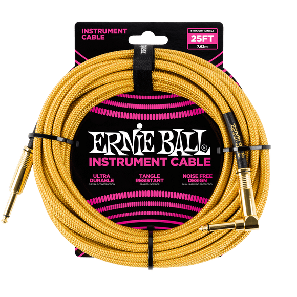 Ernie Ball 25' Braided Instrument Cable Straight/Angle Gold