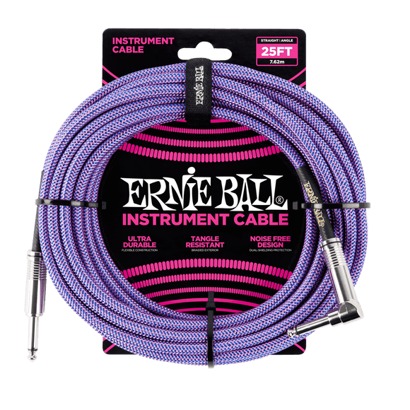 Ernie Ball 25' Braided Instrument Cable Straight/Angle Purple