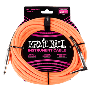 Ernie Ball 25' Braided Instrument Cable Straight/Angle Neon Orange