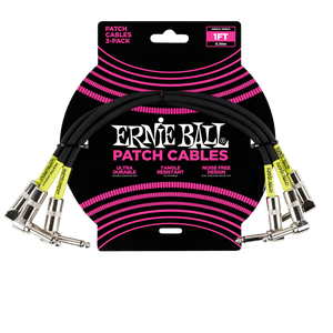 Ernie Ball 1' Angle/Angle Patch Cables - 3 Pack Black