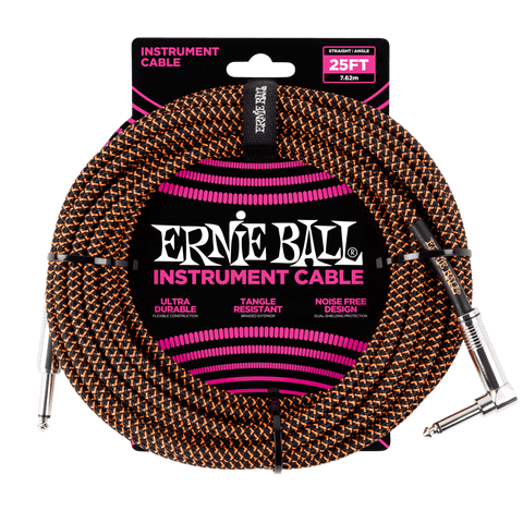 Ernie Ball 25' Braided Instrument Cable Straight/Angle Orange & Black