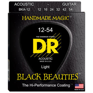 "DR BKA-12 Black K3 Coated Acoustic Strings ""Black Beauties"" 12-54"