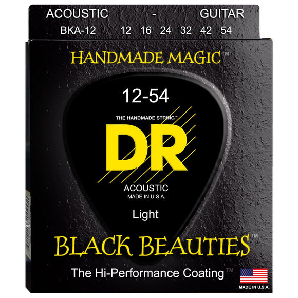 DR BKA-12 Black K3 Coated Acoustic Strings