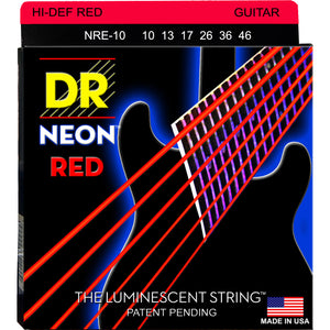DR NRE-10 NEON Red Electric Strings Medium 10-46 | NRE-10