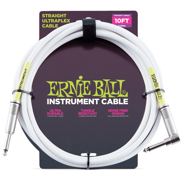 Ernie Ball 10' Straight/Angle Instrument Cable - White