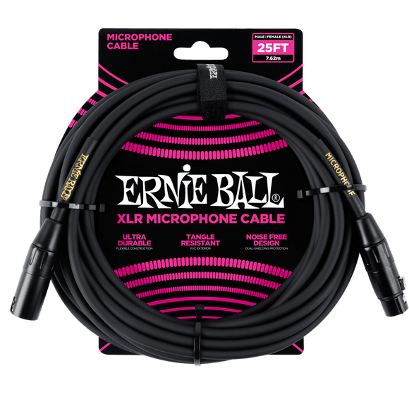 Ernie Ball 25' Mic / Microphone XLR Cable - Black