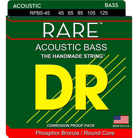 DR Strings RPB5-45 RARE 5-String Acoustic Bass Strings, 45-125