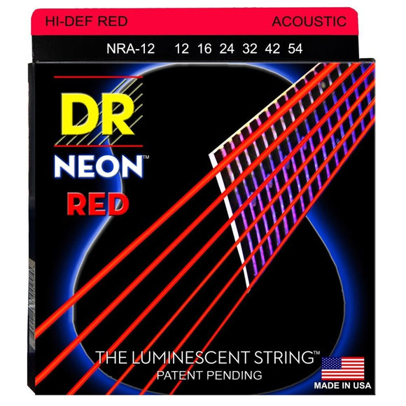 DR NRA-12 Neon™ Red acoustic strings with K3™ Technology 12-54