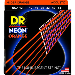 DR NOA-12 Neon™ Orange acoustic strings with K3™ Technology 12-54