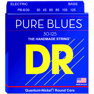 DR PB6-30 Pure Blues Quantum-Nickel Bass Strings for 6-String 30-125