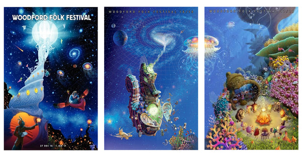 Woodford Folk Festival Poster Collection 2016-2019