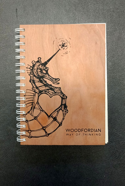 Wooden Notebook with Seahorse Print