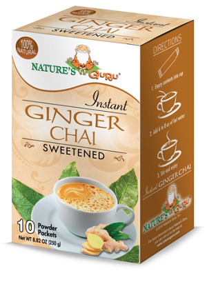 Nature's Guru Ginger Chai Sweetened - 10 CT Box
