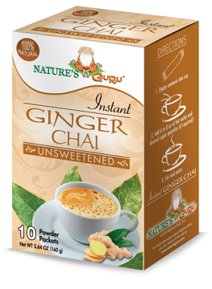 Nature's Guru Ginger Chai Unsweetened - 10 CT Box