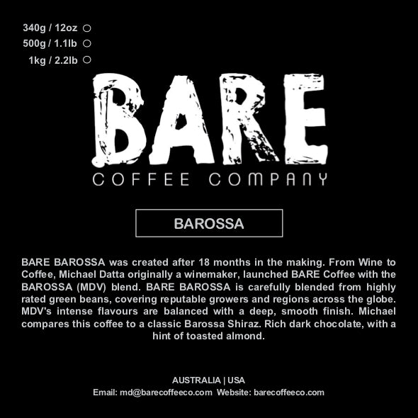 BARE COFFEE BAROSSA BLEND (Available Australia & USA)
