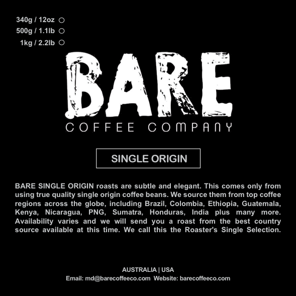 BARE COFFEE SINGLE ORIGIN (Australia & USA)