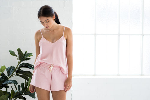 edie shorts dusty rose