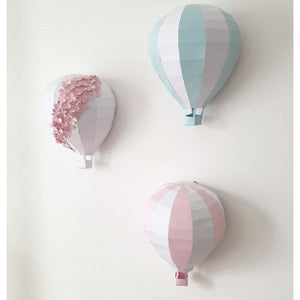 Paper hot air balloons wall decor set of 3