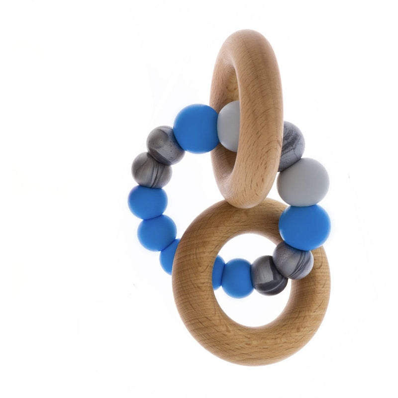 blue grey duet teether rattle