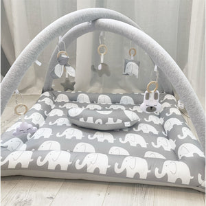 Activity playmat - grey and white elephant