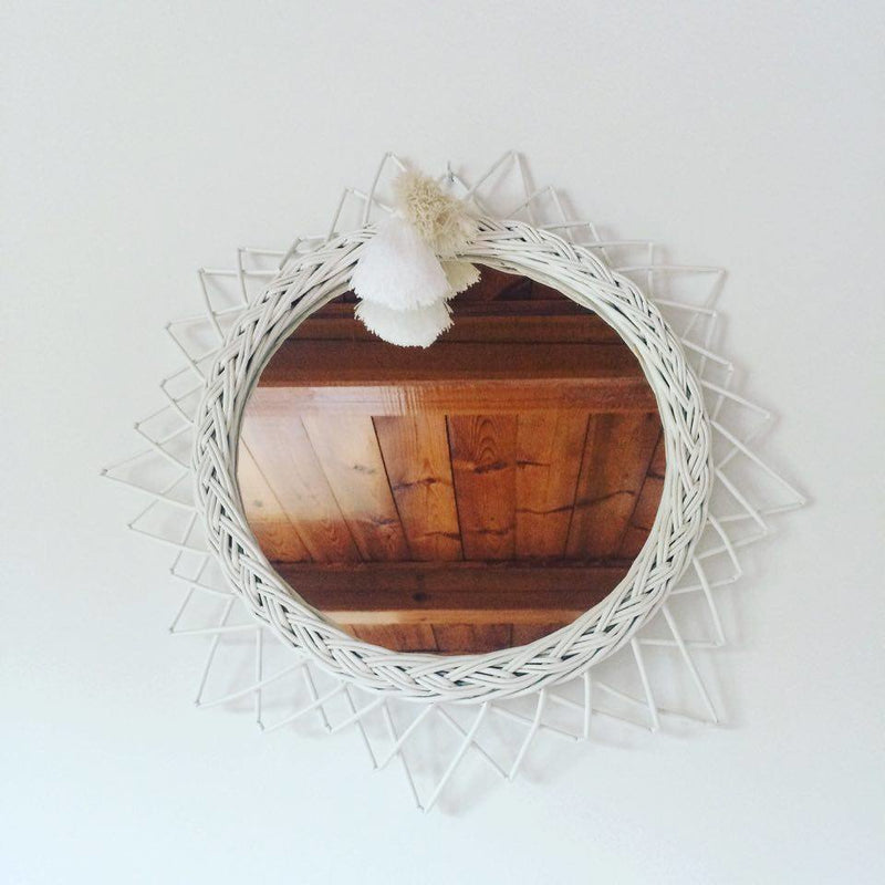 Wicker mirror - White