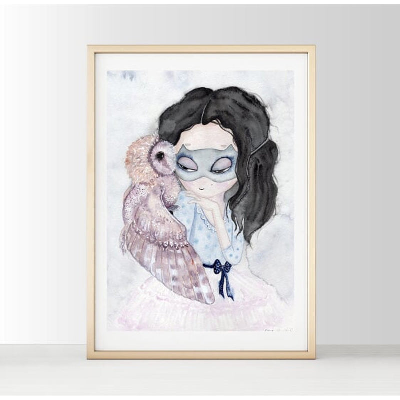 Wall Print  - Lady and an Owl