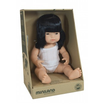 Anatomically correct baby, asian girl, 38 cms - Miniland doll