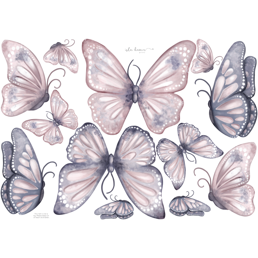 Butterflies; navy, blush and violet - wall decals
