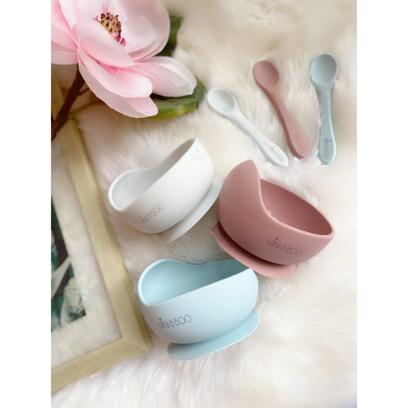 Silicone suction bowl + spoon set