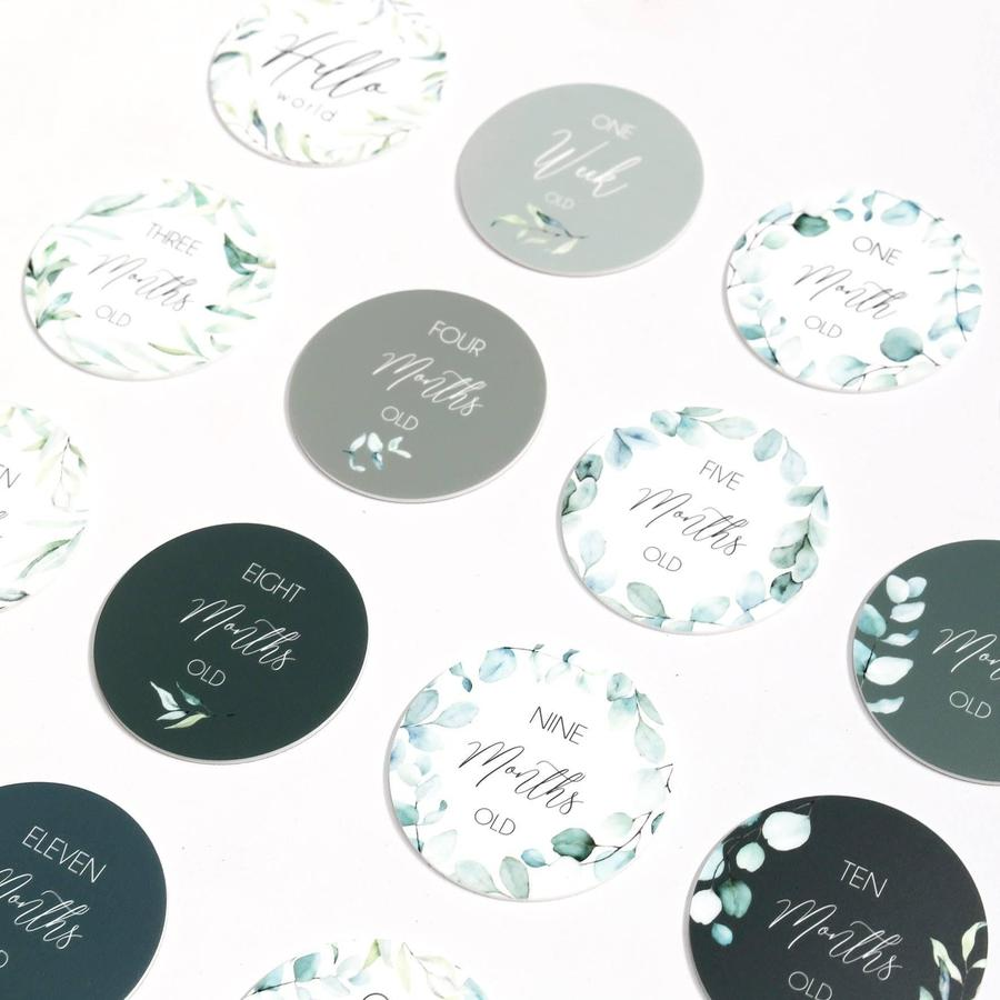 Sage foliage printed milestone cards - set of 14