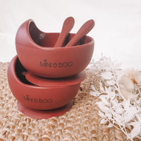 Silicone suction bowl + spoon set, Merlot, LIMITED EDITION