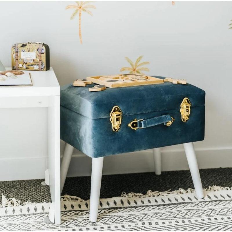 Luxe velvet storage stool - steel blue